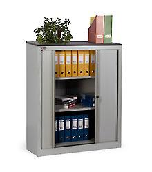 Шкаф офисный  КД-142 (2 полки) с дверьми-жалюзи